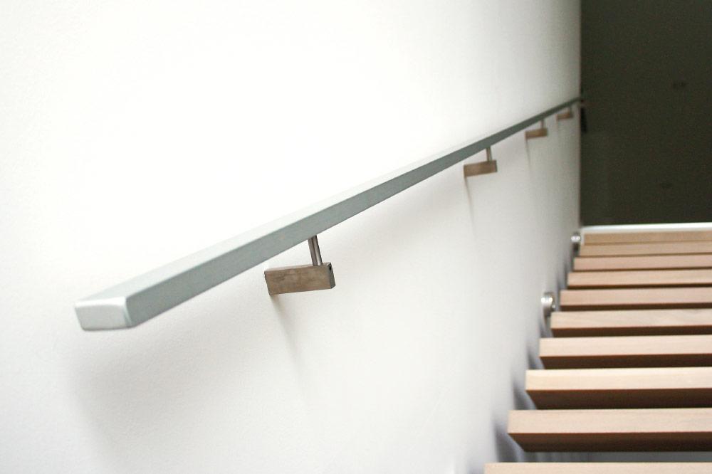 Charmant Wall Mount Handrails / Solid Aluminum Handrails / Rectangular Stainless  Steel Brackets