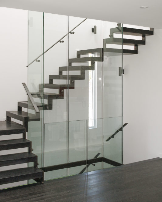 side stringers / zig zag stringers / glass side mount handrails