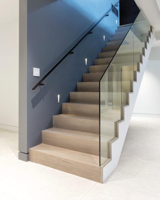 Waterfall Stair / Wall Mount Handrails / Blackened Steel Handrails /  Rectangular Handrail Brackets